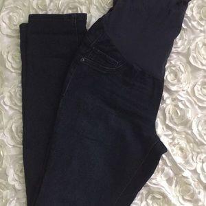 Denim - Dark indigo color skinny maternity jeans. Small